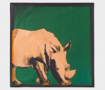 Dark Green 'Safari Animals' Print Silk Pocket Square