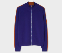 Indigo Knitted Zip Cardigan With Rust Side Band