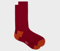 Burgundy Wool-Cashmere Socks With Rust Details