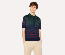 Navy And Green Cotton Jacquard and Stripe Polo Shirt