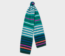 Green Multi-Coloured Stripe Wool Scarf