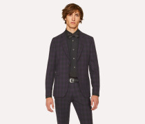 Tailored-Fit Purple And Black Jacquard Check Blazer