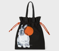 Black 'Rabbit' Print Canvas Tote Bag