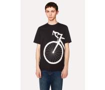 Black 'Bicycle' Print Organic-Cotton T-Shirt
