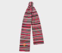 & Manchester United - Red Striped Wool-Cashmere Scarf