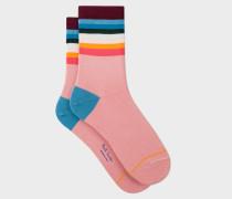 Pink 'Artist Stripe' Trim Socks