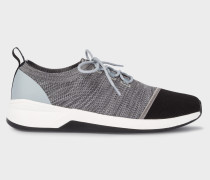 Black And Grey Mélange 'Mantis' Knitted Trainers