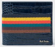 Blue 'Bright Stripe' Mock-Croc Leather Billfold Wallet