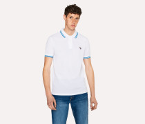 Slim-Fit White Zebra Polo Shirt With Blue Tipping