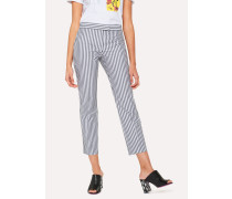 Slim-Fit Grey And White Stripe Cotton Trousers