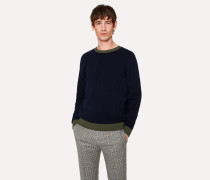 Navy Lambswool Sweater With Contrast Trims