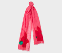 Pink Rabbit Motif Linen Scarf