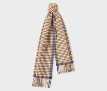 Brown Check Double-Sided Wool Scarf