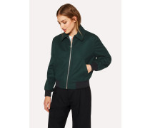 Dark Green Wool And Cashmere Bomber Jacket