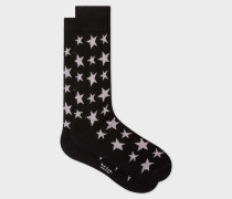 Black 'Star' Jacquard Socks