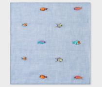 Light Blue Embroidered 'Fish' Pocket Square