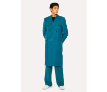 Teal Houndstooth Check Double-Breasted Wool Overcoat