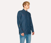 Tailored-Fit Indigo Denim Shirt With Embroidered Doodles