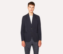 Tailored-Fit Dark Navy Unlined Cotton Blazer