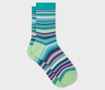 Green Multi-Coloured Stripe Socks
