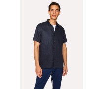 Classic-Fit Dark Navy Linen Short-Sleeve Shirt