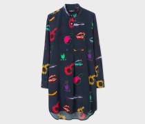 Navy 'Artful Lives' Print Silk Shirt Dress