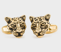 Gold 'Leopard Head' Cufflinks