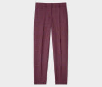 Maroon Check Classic-Fit Wool-Blend Trousers