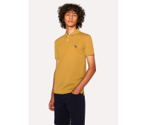 Slim-Fit Mustard Embroidered 'Zebra' Polo Shirt