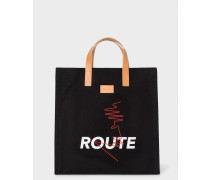 'Route' Print Black Canvas Tote Bag