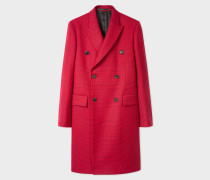 Red Houndstooth Check Double-Breasted Wool Overcoat