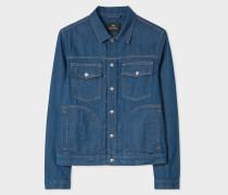 Indigo Rinse Pleat-Front Denim Jacket
