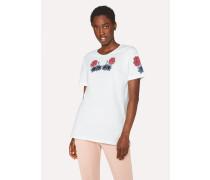 White Floral Print Cotton T-Shirt