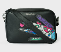 Black Leather 'Crocodile' Appliqué Cross-Body Bag