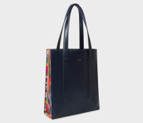 Navy 'Concertina Swirl' Leather Tote Bag