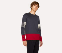 Navy And Burgundy Cotton Long-Sleeve T-Shirt