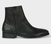 Black Leather 'Brookyln' Boots with 'Artist Stripe' Detail