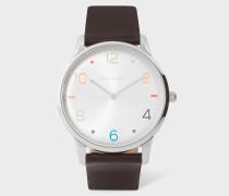 Silver And Brown 'Slim' Artist Stripe Watch