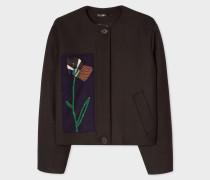 Black Wool-Blend Blouson Jacket With Ribbon Appliqué