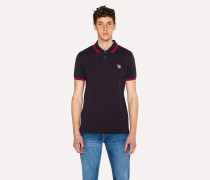 Slim-Fit Dark Navy Zebra Polo Shirt With Red Tipping