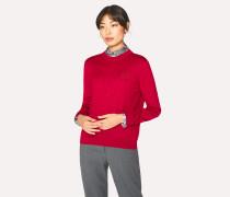 Red Wool-Silk Openwork-Knit Sweater