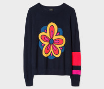 Navy Merino Wool 'Kyoto Floral' Intarsia Jumper
