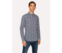 Slim-Fit Navy 'Floral Leaves' Print Cotton Shirt