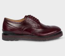 Burgundy 'Cruz' Leather Brogues With Split-Colour Soles