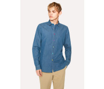 Slim-Fit Indigo Denim Shirt With Multi-Colour Buttons