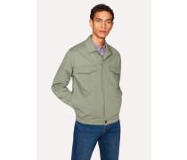 Green Cotton Patch-Pocket Jacket