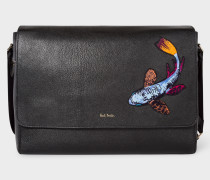 Black Leather 'Koi Carp' Messenger Bag