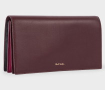 Burgundy 'Concertina' Tri-Fold Leather Purse