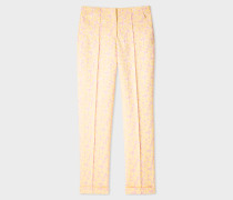 Yellow And Pink Floral Jacquard Stretch-Cotton Trousers