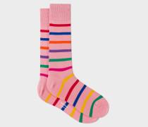 Pink Multi-Colour Stripe Socks